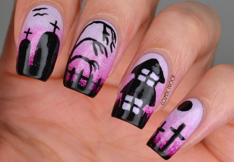 Haunted House Gradient nail art by Jayne