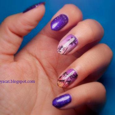 Tropics at night nail art by notcopyacat