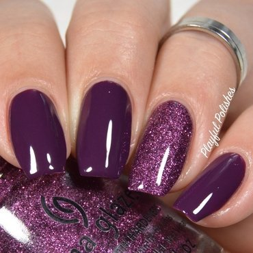 Simple Purple Sparkle Nails nail art by Playful Polishes