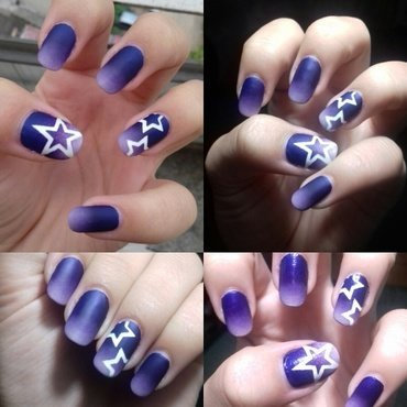 Purple matte gradient ombre with stars nail art by 9Sh4DeSOfBl4ckBooD