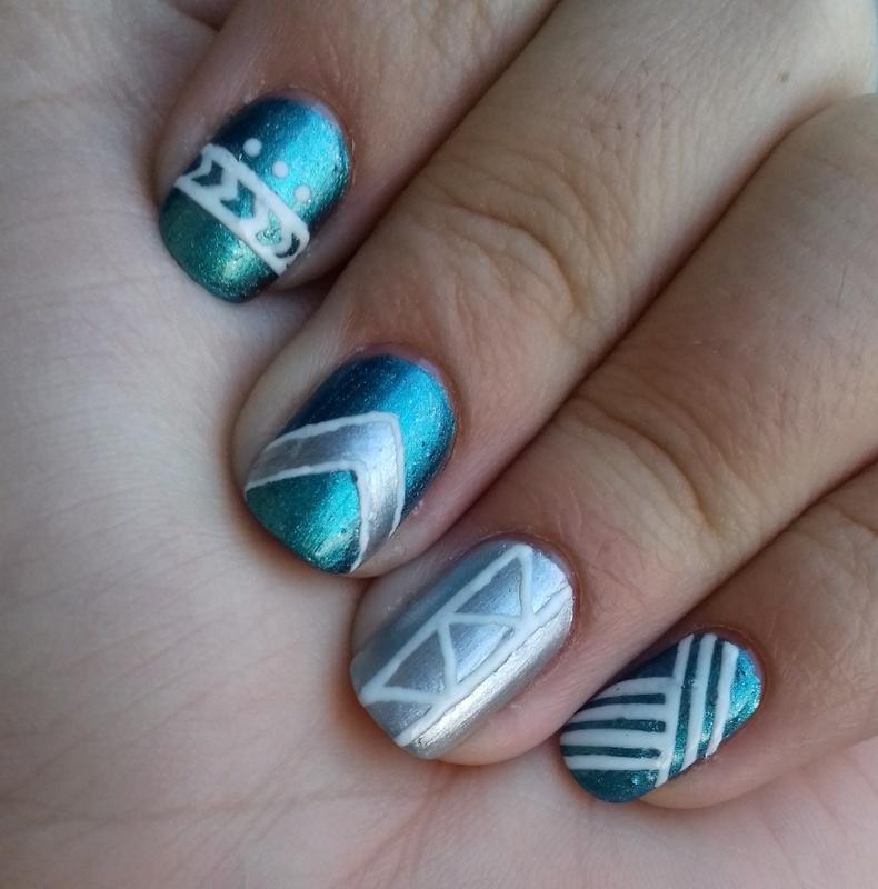 Multichrome tribal mani nail art by 9Sh4DeSOfBl4ckBooD