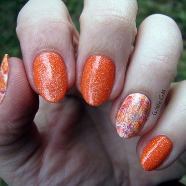 Pumpkin dry brush nail art by Nail Crazinesss