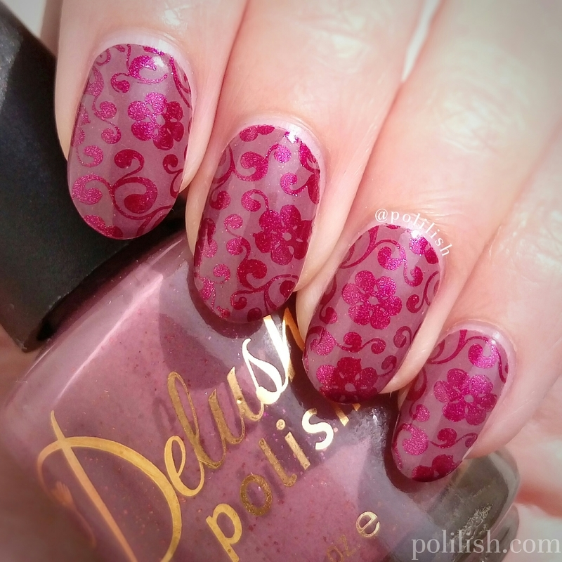Floral stamped nail art nail art by polilish