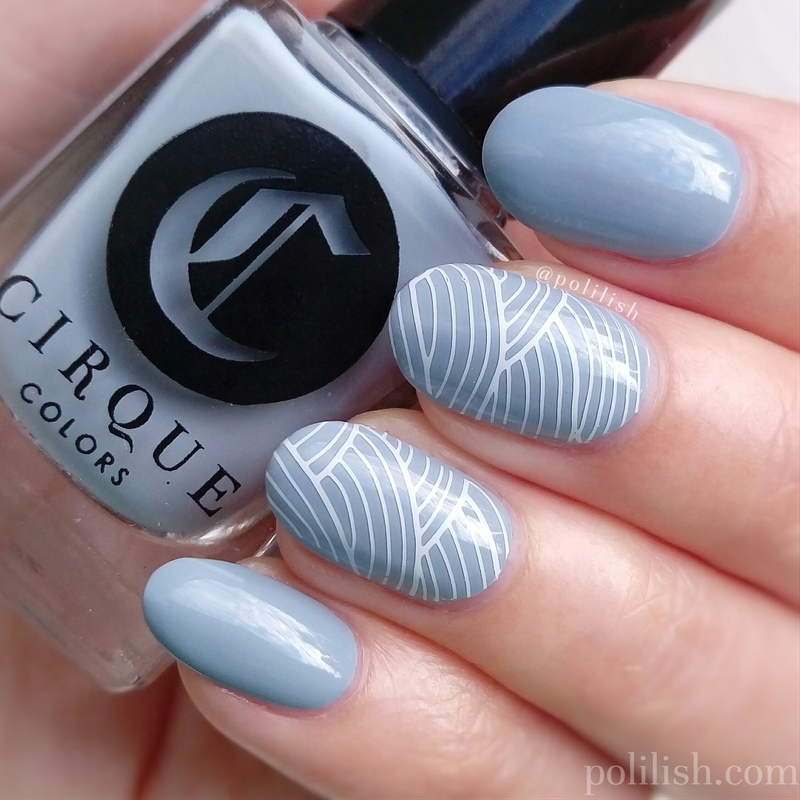 Simple blue stamped nails nail art by polilish