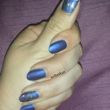 Blue Satin with Silver Striping Tape nail art by xniteskyx