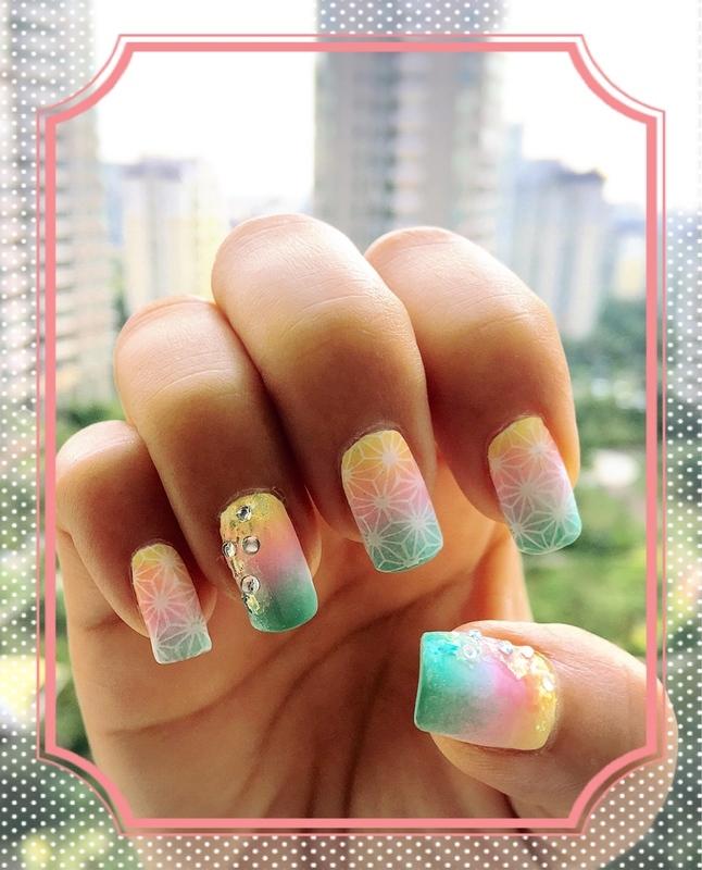 soft rainbow nail art by Idreaminpolish