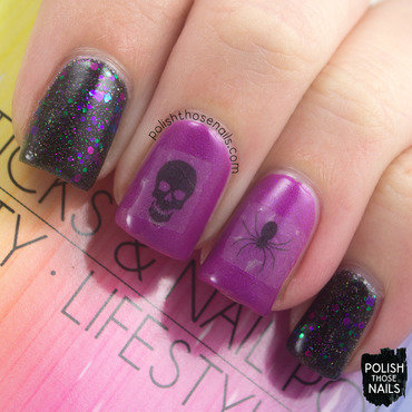 Black glitter purple skull spider halloween water decals nail art 1 thumb370f
