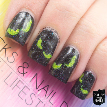Black sparkle eyes halloween nail art vinyls thumb370f