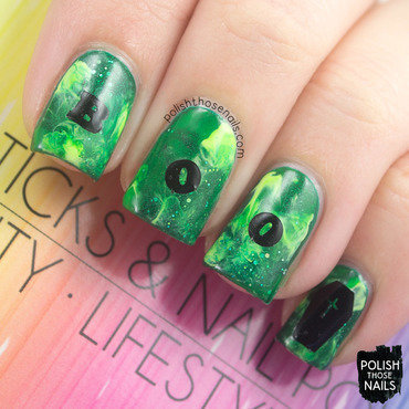 Green smoosh halloween boo nail art stickers thumb370f