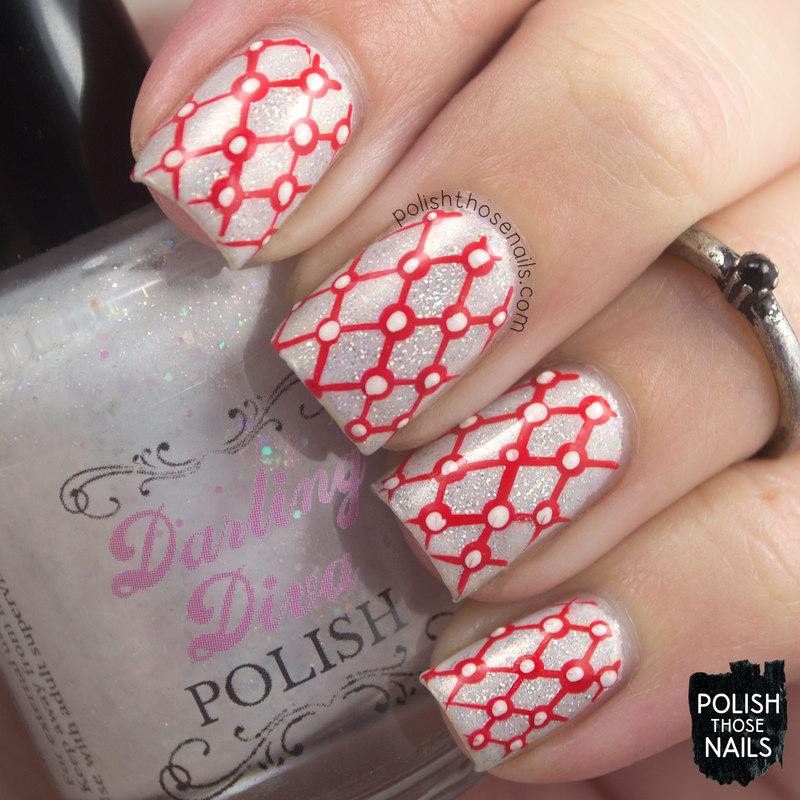 Red Gridded Flakies nail art by Marisa  Cavanaugh