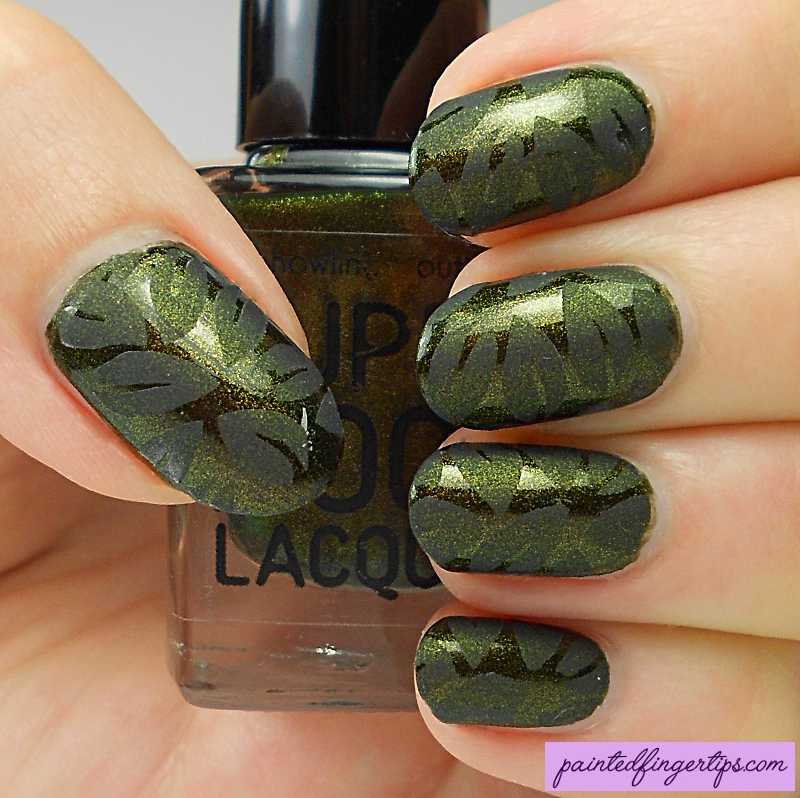 Matte leaf stamping nail art by Kerry_Fingertips