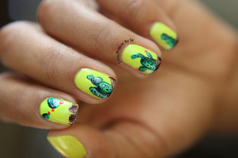 Cactus nails nail art by Siça Ramos
