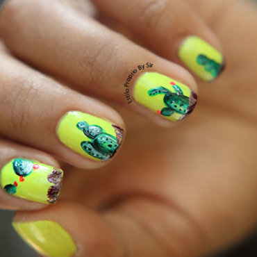 Cactus nails nail art by Siça Ramos