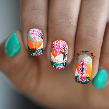 pink nail tree nail art by Siça Ramos