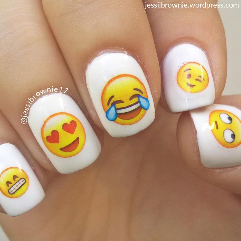 Emoji Crazy ft Nicole Diary water stickers nail art by Jessi Brownie (Jessi)