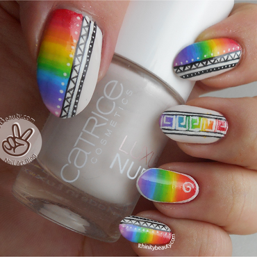 Freehand Acrylic-Gradient Rainbows & Tribal nail art by Ithfifi Williams