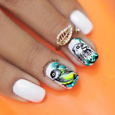 Nail art bird nail art by Siça Ramos