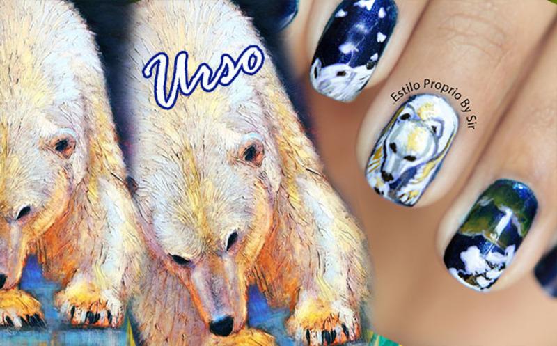 Polar Bear nail art by Siça Ramos