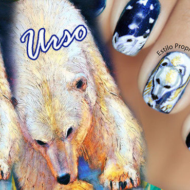 Polar Bear nail art by Siça Ramos