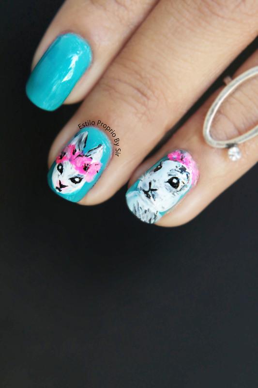 nail art rabbit nail art by Siça Ramos