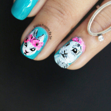 nail art rabbit nail art by Siça Ramos
