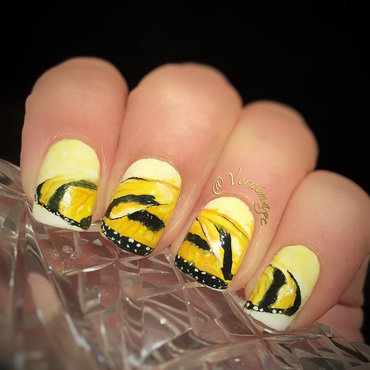 Tiger Butterfly nail art by Vernimage
