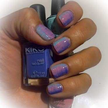 Fucshia, Acqua and Periwinkle #fanbrushfriday  nail art by Avesur Europa
