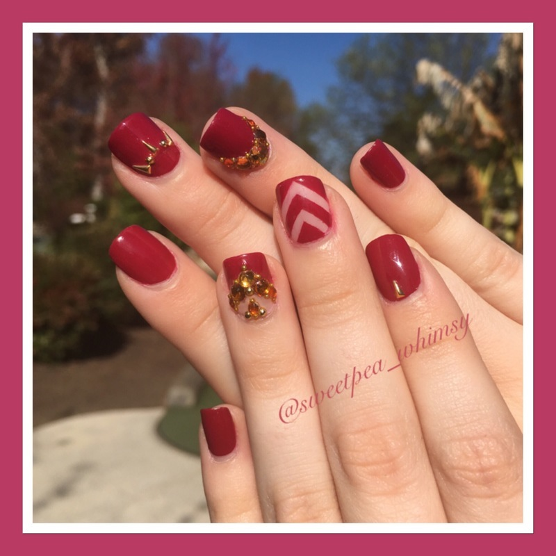 Autumn Red with Golden Touches nail art by SweetPea_Whimsy