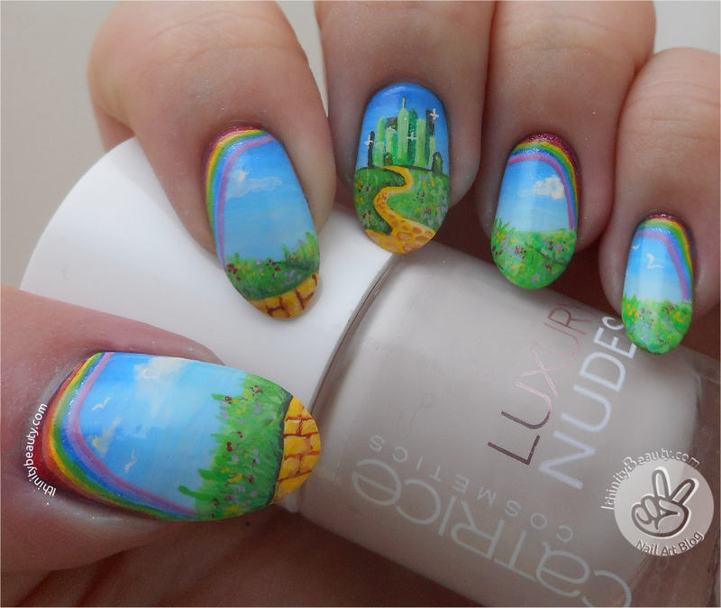 Freehand Wizard Of Oz/Emerald City!  nail art by Ithfifi Williams