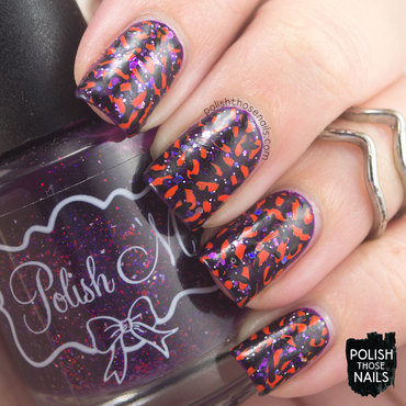 Purple glitter orange black random pattern nail art 4 thumb370f