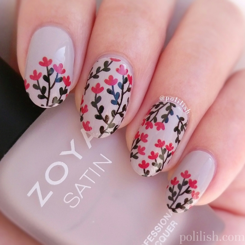 Floral design using water decals nail art by polilish