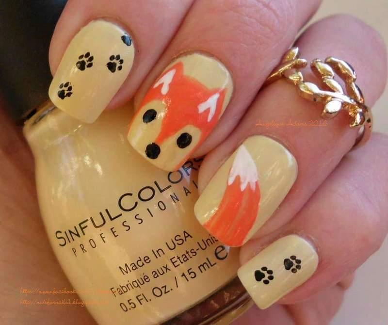 Fall Fox nail art by Angelique Adams - Nailpolis: Museum of Nail Art