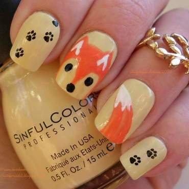Fall Fox  nail art by Angelique Adams