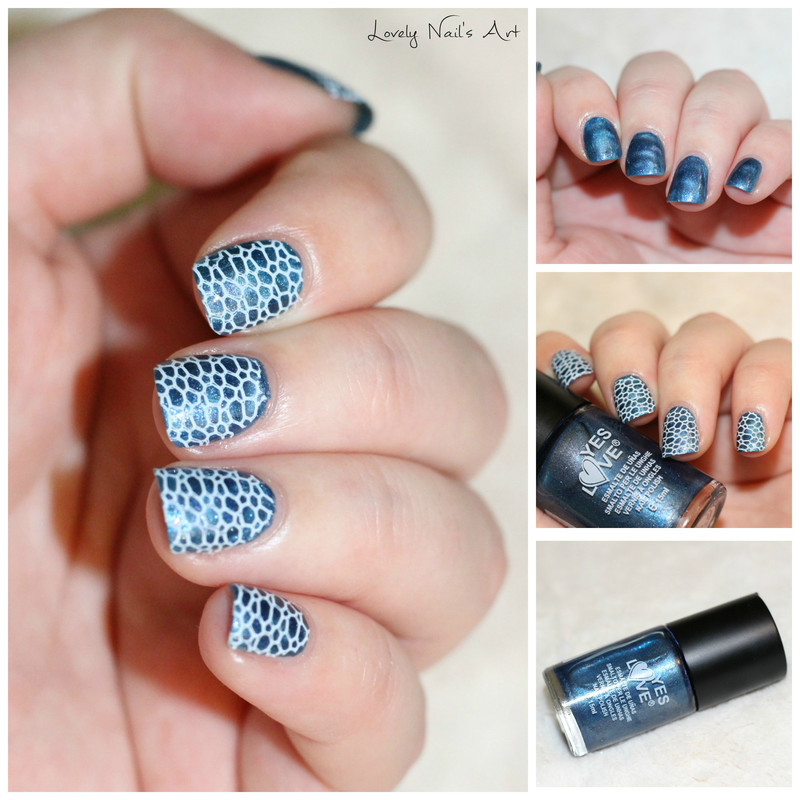 Nail art stamping blue  nail art by Lovely Nail's  Art