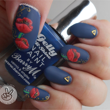 Freehand Poppies For Rememberance Day nail art by Ithfifi Williams