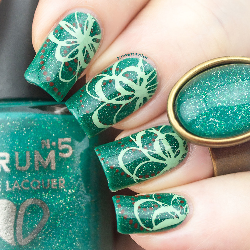 Let's Avocuddle With Stamping nail art by Kimett Kolor