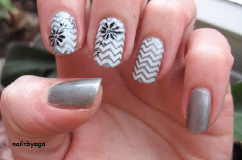 White and grey chevron nail art by agazar30