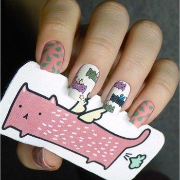 Freehand flying cats nail art by barbrafeszyn