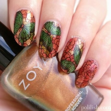 Butterfly design using water decals nail art by polilish