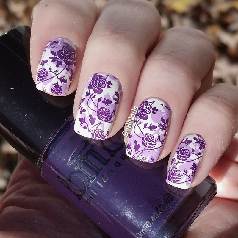 Purple Roses nail art by Gr8Nails