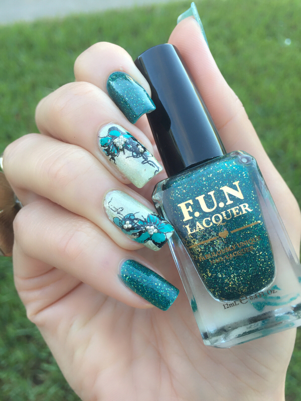 Teal flowers and holo nail art  nail art by Happy_aries