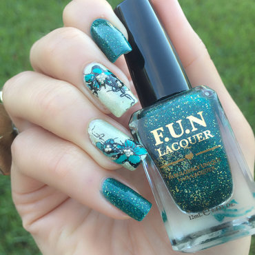 Teal 20flowers 20and 20holo 20nail 20art thumb370f
