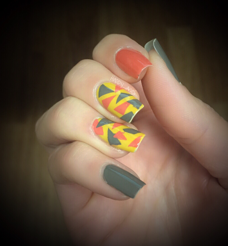 Geometric fall inspired nail art  nail art by Happy_aries