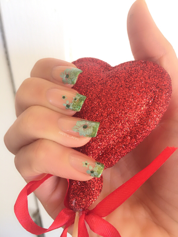 Modified french mani with green flowers  nail art by Happy_aries