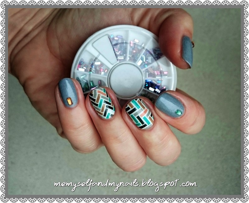 Autumn geometry nail art by ELIZA OK-W
