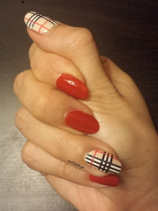 Burberry Inspired with Striping Tape nail art by xniteskyx