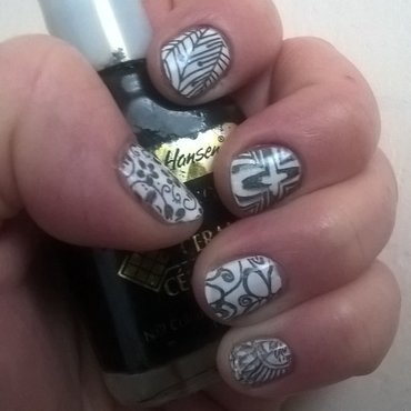 White with stamps nail art by Sazjay