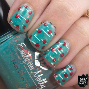 Polka Dot Contrast nail art by Marisa  Cavanaugh