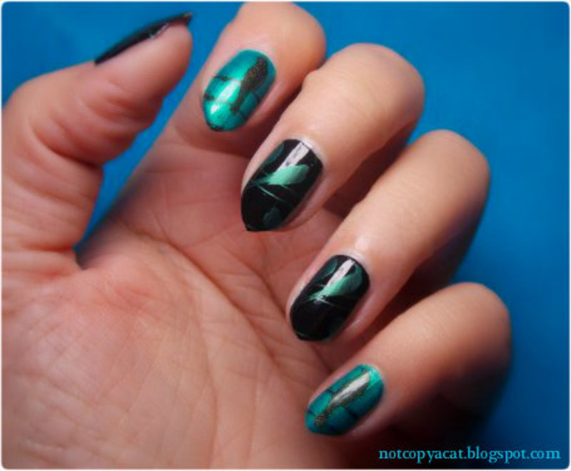 Birds on a wire nail art by notcopyacat