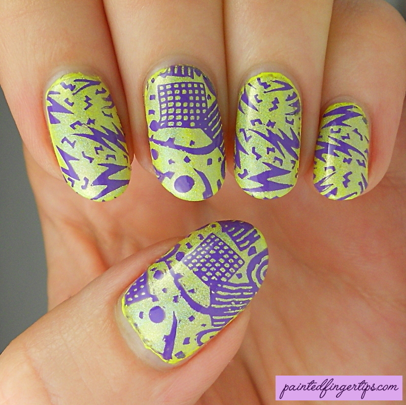 Neon yellow and purple nail art by Kerry_Fingertips